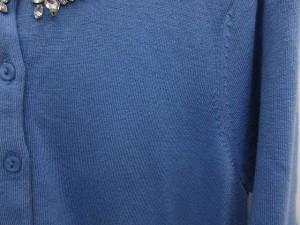 チェスティ Chesty カーディガン ニット セーター ビジュー 長袖 水色 F /AO30 レディース ベクトル【中古】