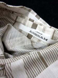 アンスナム ANSNAM シャツ シルク ボーダー 半袖 1 白 グレー /EK メンズ ベクトル【中古】