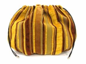 ツルバイマリコオイカワ TSURU BY MARIKO OIKAWA 巾着バッグ ストライプ 黄色 茶 /TK レディース ベクトル【中古】