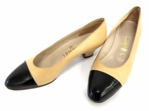 2a705c43870a シャネル CHANEL パンプス バイカラー ローヒール 靴 レザー 5.5 ベージュ 黒 /☆G レディース