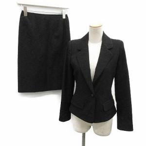 6d4c48e1fa60 ルネ Rene TISSUE セットアップ 上下 スカートスーツ ジャケット 刺繍 総柄 36 黒 ブラック /OG25