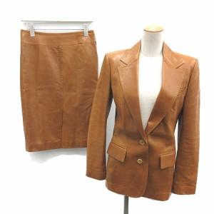 aebd44f61951 グッチ GUCCI セットアップ 上下 スカートスーツ ラムレザージャケット 革ジャン スカート 38 茶 キャメル