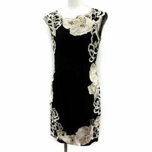 7d5d35b75fc04 グレースコンチネンタル GRACE CONTINENTAL ワンピース ひざ丈 タイト ノースリーブ 刺繍 ビジュー 36 黒 ブラック