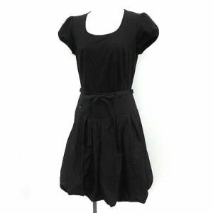 41862b6c84e77 トゥービーシック TO BE CHIC ワンピース ひざ丈 バルーンスカート 半袖 40 黒 ブラック  YM