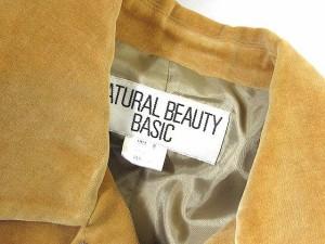 ナチュラルビューティーベーシック NATURAL BEAUTY BASIC ジャケット ベロア ステンカラー ベルト付き 比翼 ベージュ L レディース