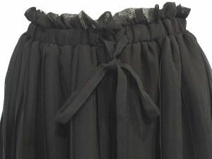 プロポーション ボディドレッシング PROPORTION BODY DRESSING プリーツ スカート シフォン フレア イージー ひざ丈 黒 1 LEK レディース