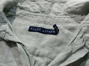 ラルフローレン RALPH LAUREN シャツ リネン 麻 100% 半袖 スキッパー 黄緑 2 レディース ベクトル【中古】