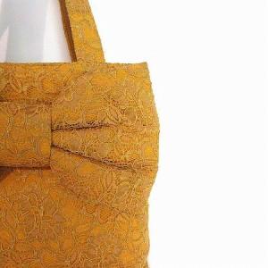 ミュゲ MUGUET トート バッグ ハンド リボン 総レース マチなし オレンジ 鞄 レディース ベクトル【中古】