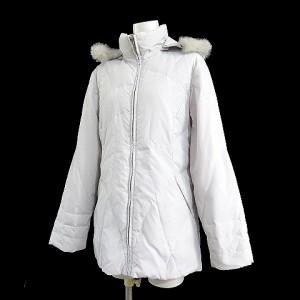 【中古】Club Face ダウン ジャケット キルティング ラビット ファー 毛皮 付き フード 付き 無地 白 9R レディースの画像