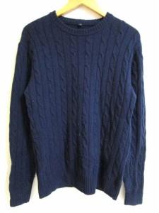 無印良品 良品計画 ケーブル ニット セーター ウール100% 長袖 M 紺 0501 メンズ ベクトル【中古】