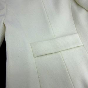 エフデ ef-de ノーカラーコート ウール系 白 size 9 アウター 180203 レディース ベクトル【中古】