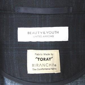 B&Y ユナイテッドアローズ BEAUTY&YOUTH TORAY テーラードジャケット 2B シャドーチェック ネイビー S ベクトル【中古】