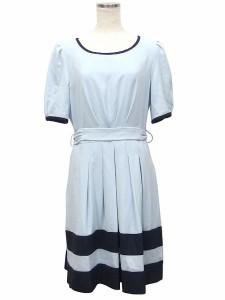f15a51fb5a521 Bw lone ワンピース パーティー ドレス 半袖 フレアー リボン 丸首 9AR ブルー ブラック 水色 黒  CT