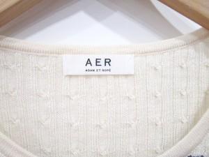 アダムエロペ Adam et Rope' ニット セーター ケーブル編み ボーダー 38 アイボリー 紺 0507 レディース ベクトル【中古】