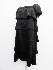 b502cfea04e70 アンタイトル UNTITLED ワンピース 半袖 フリル ひざ丈 ブラック 黒 3 L レディース
