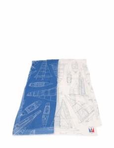 6e9dcb0d309a9a 【中古】ルイヴィトン LOUIS VUITTON ストール 白 青 小物 コットン 麻 M70293 VICTORY BOATS  アメリカズカップ2017 メンズ