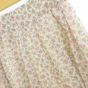 レストローズ L'EST ROSE スカート フレア ミニ タック 花柄 ピンク 紫 2 *A604 レディース ベクトル【中古】