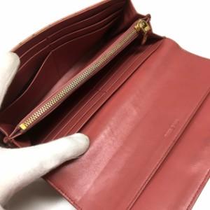 ミュウミュウ miumiu クロコ型押し 二つ折り長財布 ウォレット ピンク SSAW レディース ベクトル【中古】