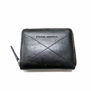 a17bf43ae629 ステータスアングザエティー STATUS ANXIETY ラウンドジップ 二つ折り財布 ウォレット レザー ブラック 黒