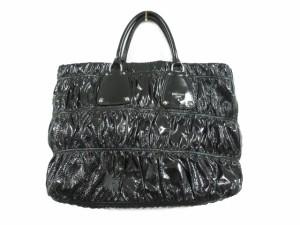 c9533e710347 プラダ PRADA トートバッグ 手提げ ハンド ギャザー シャーリング エナメル パテントレザー 黒 ブラック 鞄