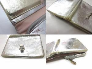 1931d809f507 ツモリチサト TSUMORI CHISATO 二つ折り財布 ウォレット 猫 キャット フェイクレザー シルバー ゴールド コーティング ベクトル【中古】