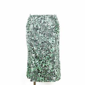 ジェイ&アール J&R スカート ひざ丈 タイト ギャザー ドット 水玉 緑 グリーン S レディース