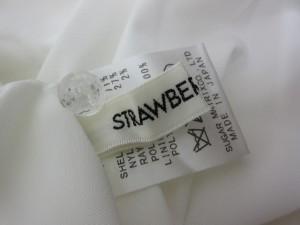 ストロベリーフィールズ STRAWBERRY-FIELDS ワンピース 膝丈 半袖 レース 総柄 白 ホワイト レディース