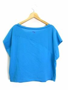 ノーブランド Tシャツ カットソー 半袖 プリント メッシュ 青 ブルー ※MH レディース