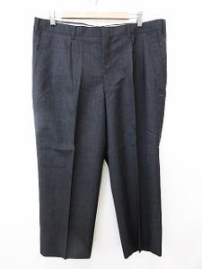 6a34752f477a リーガル REGAL パンツ スラックス 2タック グレンチェック センタープレス 毛混 黒 97 メンズ