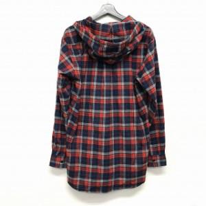 バレンシアガ BALENCIAGA 17AW Oversized Checked Hooded Shirt ウーブンチェック フードシャツ 長袖 赤 レッド 37 国 ベクトル【中古】