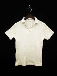 ユニバーシティオブオックスフォード UNIVERSITY OF OXFORD カットソー シャツ 半袖 Vネック ストライプ L 白 ホワイト /☆y メンズ