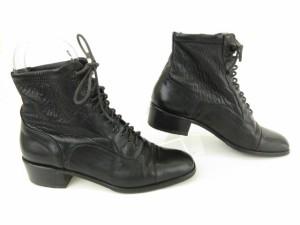 バリー BALLY ブーツ ショート レースアップ レザー 35.5 黒 ブラック /kt レディース ベクトル【中古】