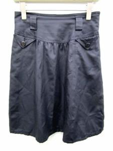 ナチュラルビューティーベーシック NATURAL BEAUTY BASIC スカート ひざ丈 フレア ギャザー ファスナー 無地 M 紺系 【中古】