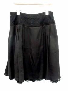 レッセパッセ LAISSE PASSE スカート ひざ丈 フレア レース リボン タック 36 黒 【中古】 ベクトル【中古】