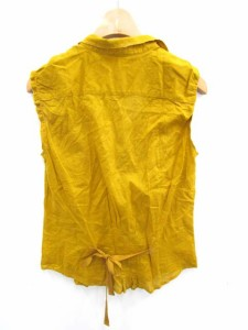 ギャミヌリィ gaminerie シャツ ノースリーブ ポケット 無地 リボン 2 黄色 /YS766 【中古】 ベクトル【中古】