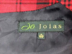 ジョイアス Joias ワンピース 丸首 半袖 ひざ丈 パフスリーブ タック チェック 赤 黒 /DH21 【中古】 ベクトル【中古】