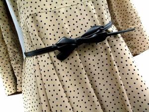 クローラ crolla ワンピース フレア ギャザー ひざ丈 七分袖 ドット 茶 38 /DE88 レディース ベクトル【中古】