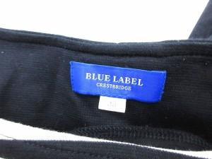 ブルーレーベルクレストブリッジ BLUE LABEL CRESTBRIDGE ワンピース ドッキング ひざ丈 七分袖 ボーダー 切替 38 白 黒 /CY8 レディース