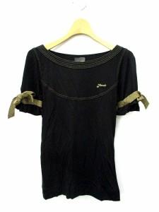 フェンディ FENDI カットソー 袖リボン 刺繍 半袖 黒 ゴールド 38 /AO3 レディース ベクトル【中古】