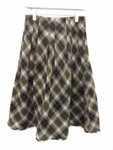 ヨシエイナバ yoshie inaba スカート フレア チェック ロング 9 カーキ 黒 /MK11 レディース ベクトル【中古】