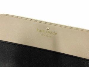 ケイトスペード KATE SPADE 長財布 ラウンドファスナー レザー ベージュ 黒 /AK30 レディース