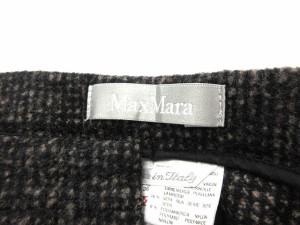 マックスマーラ MAX MARA パンツ ウール シルク混 チェック ロング 黒 茶 36 /AO26 レディース ベクトル【中古】
