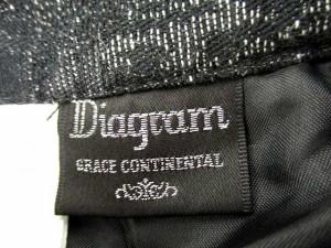ダイアグラム グレースコンチネンタル Diagram GRACE CONTINENTAL スカート ギャザー フレア ひざ丈 総柄 36 黒 グレー /SR24 レディース