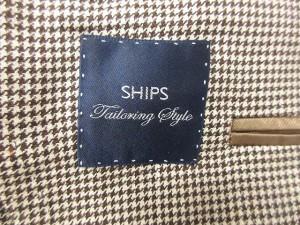 シップス SHIPS ジャケット テーラード シングル チェック シルク混 リネン混 44 茶 /YO10 メンズ ベクトル【中古】