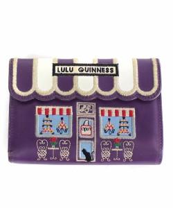 c85f76f6f5d0 ルルギネス LULU GUINNESS 財布 二つ折り 刺繍 レザー 紫 /DE36 レディース
