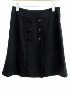 ロペ ROPE スカート フレア 膝丈 ダブルボタン 黒 9 【中古】 ベクトル【中古】