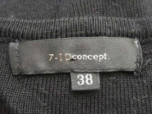 セブンアイディーコンセプト 7-ID concept セーター ニット Uネック リボン 半袖 38 黒 白 【中古】 ベクトル【中古】