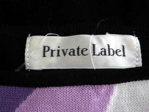 プライベートレーベル Private label ワンピース 膝丈 フリル 総柄 半袖 黒 白 紫 M /DK515 【中古】 ベクトル【中古】