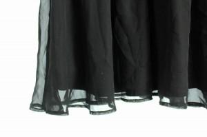デュラスアンビエント DURAS ambient ワンピース ミニ ドッキング ボーダー シフォン ノースリーブ 黒 レディース ベクトル【中古】