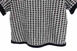 センソユニコ Senso unico カットソー チェック ストレッチ 半袖 38 黒 レディース ベクトル【中古】